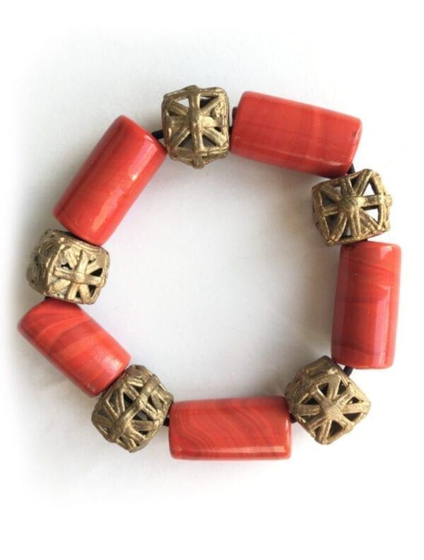 TOFFO bracelet élastiqué bronze et céramique
