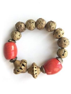 TAKO bracelet élastiqué bronze et céramique