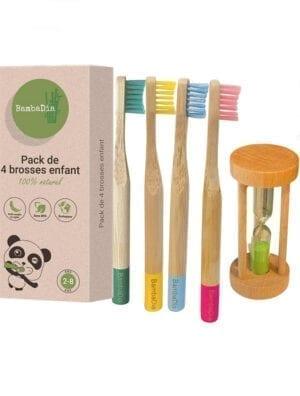 Brosse a dent bambou enfant + sablier