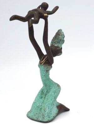 Statue bronze femme Turquoise