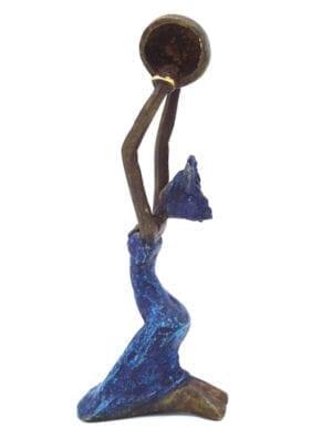 Statue bronze femme Bleu