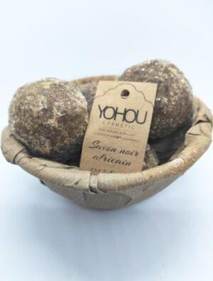 Savon noir en boule 300 GR Yohoucosmetic Produit naturel et Fabriqué en Côte d'Ivoire